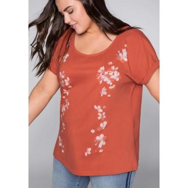 Shirt mit Blumendruck und überschnittenen Schultern, rostrot, Gr.44/46-56/58
