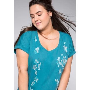 Shirt mit Blumendruck und überschnittenen Schultern, türkis, Gr.44/46-56/58