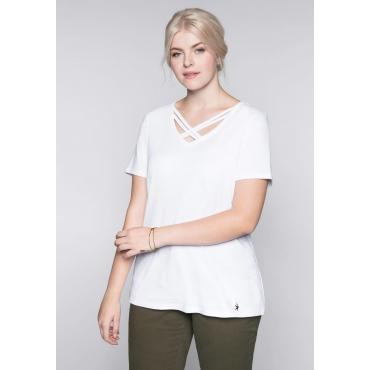 Shirt mit dekorativem Ausschnitt, weiß, Gr.44/46-56/58