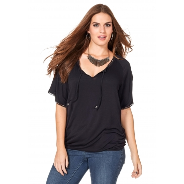 Shirt mit dekorativem Bindeband, schwarz, Gr.40/42-56/58
