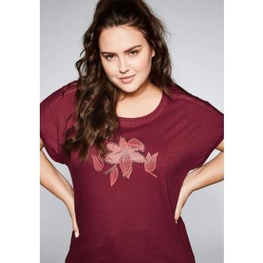Shirt mit eingesetzter Borte und Blumendruck, rubinrot, Gr.44/46-56/58