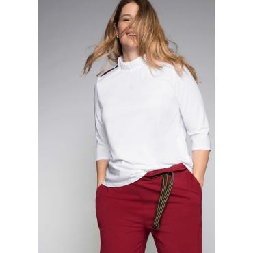 Shirt mit Einsatz aus Mesh und Stehkragen, weiß, Gr.44/46-56/58