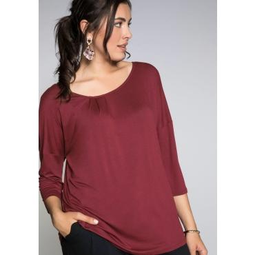 Shirt mit Falten am Rundhalsausschnitt, rubinrot, Gr.44/46-56/58