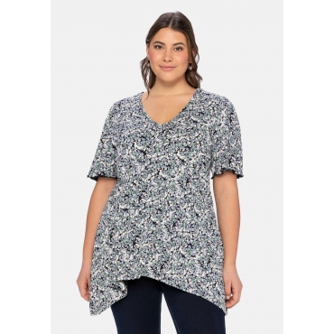 Shirt mit floralem Alloverdruck, in zipfeliger Longform, schwarz bedruckt, Gr.40/42-56/58
