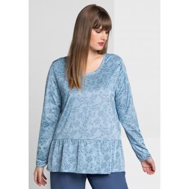 Shirt mit floralem Alloverdruck, pastellblau, Gr.40/42-56/58