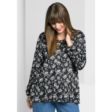 Shirt mit floralem Alloverdruck, schwarz, Gr.40/42-56/58