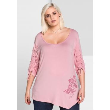 Shirt mit floralem Druck, rosé, Gr.44/46-56/58