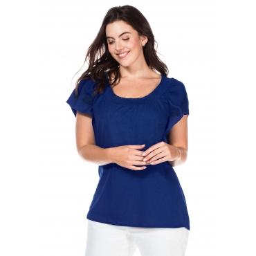 Shirt mit Flügelärmeln und Smok-Ausschnitt, kobalt, Gr.40/42-56/58