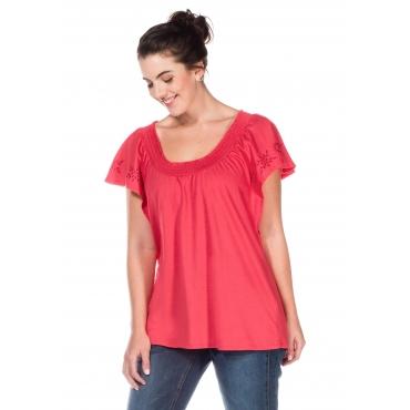 Shirt mit Flügelärmeln und Smok-Ausschnitt, melone, Gr.40/42-56/58