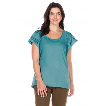Shirt mit Flügelärmeln und Smok-Ausschnitt, petrol, Gr.40/42-56/58