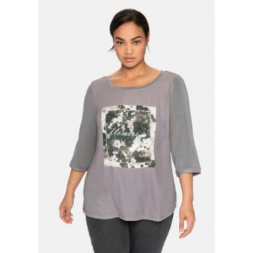 Shirt mit Frontdruck und Glitzersteinchen, rauchgrau, Gr.40/42-56/58