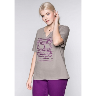 Shirt mit Frontdruck und rundem Ausschnitt, hellgrau, Gr.44/46-56/58
