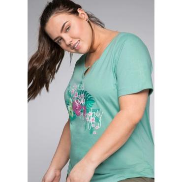 Shirt mit Frontdruck und Rundhalsausschnitt, jade, Gr.44/46-56/58