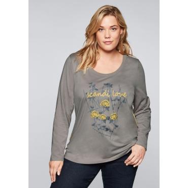 Shirt mit Frontdruck und seitlichen Zierblenden, steingrau, Gr.44/46-56/58