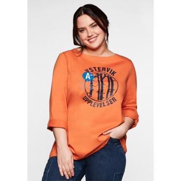 Shirt mit Frontdruck und U-Boot-Ausschnitt, kupferfarben, Gr.40/42-56/58