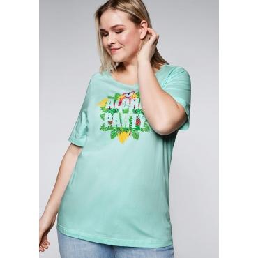 Shirt mit Frontdruck und verlängertem Halbarm, eistürkis, Gr.44/46-56/58