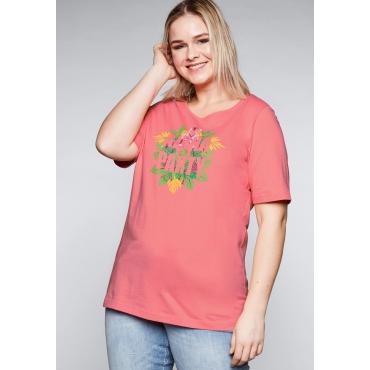 Shirt mit Frontdruck und verlängertem Halbarm, korallrot, Gr.44/46-56/58