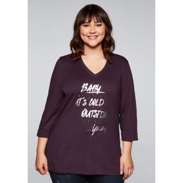 Shirt mit Frontdruck und Ziersteinchen, pflaume, Gr.44/46-56/58