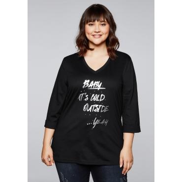 Shirt mit Frontdruck und Ziersteinchen, schwarz, Gr.44/46-56/58