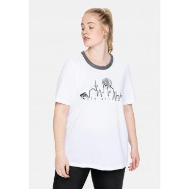 Shirt mit Frontprint und Effektgarn am Rundhalsausschnitt, weiß, Gr.40/42-56/58