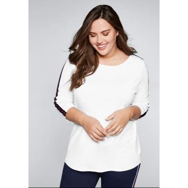 Shirt mit Galonstreifen, weiß, Gr.44/46-56/58