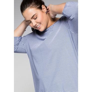 Shirt mit garngefärbten Ringeln, rauchblau, Gr.44/46-56/58