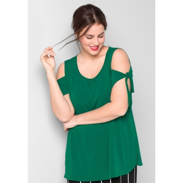 Shirt mit geschlitzten Ärmeln, blattgrün, Gr.44/46-56/58