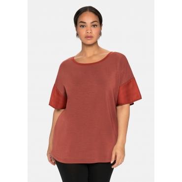 Shirt im Material-Mix, marone, Gr.40/42-56/58