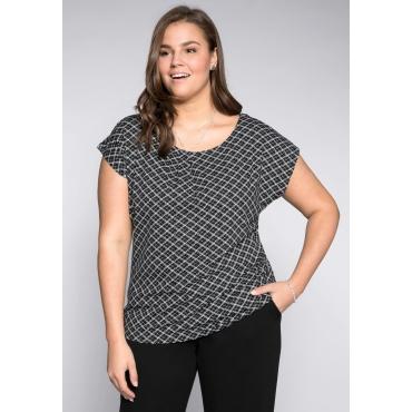 Shirt mit grafischem Alloverdruck, schwarz-weiß, Gr.44/46-56/58