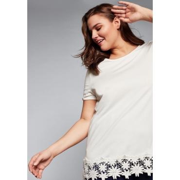 Shirt mit kurzen Ärmeln und Spitze am Saum, offwhite, Gr.44/46-56/58