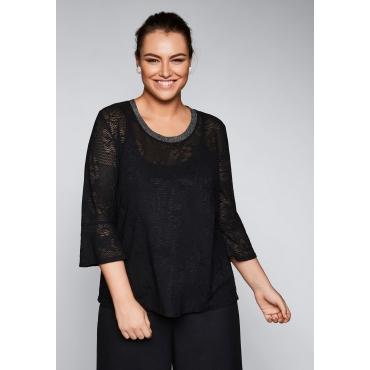 Shirt mit leicht transparenter Spitze, schwarz, Gr.44/46-56/58
