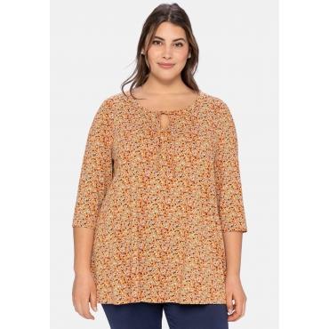Shirt mit Millefleurs-Print und 3/4-Arm, kupferfarben, Gr.40/42-56/58