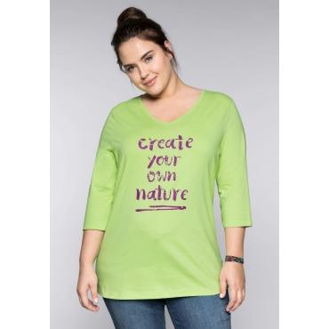 Shirt mit Mottodruck und V-Ausschnitt, lindgrün, Gr.44/46-56/58