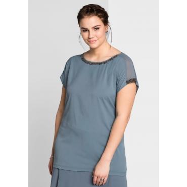 Shirt mit Perlenbesetz, blaugrau, Gr.44/46-56/58