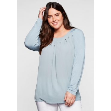 Shirt mit Falten am Ausschnitt, aus Crêpe und Jersey, hellblau, Gr.40/42-56/58