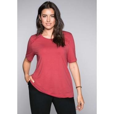Shirt mit Rüschen und längerem Kurzarm, altrosé, Gr.44/46-56/58