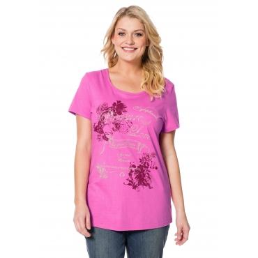 Shirt mit Rundhalsausschnitt und Kurzarm, pink, Gr.40/42-56/58