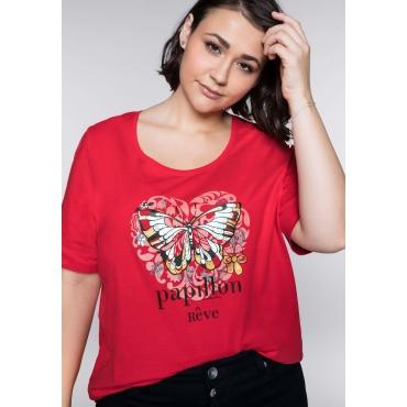 Shirt mit Schmetterling-Druck, mohnrot, Gr.44/46-56/58