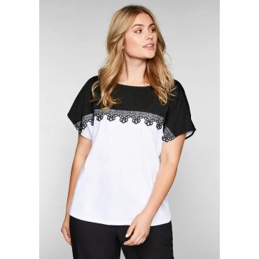 Shirt mit Spitzenborte und Rundhalsausschnitt, weiß-schwarz, Gr.44/46-56/58