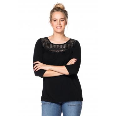 Shirt mit Spitzeneinsatz, schwarz, Gr.40/42-56/58