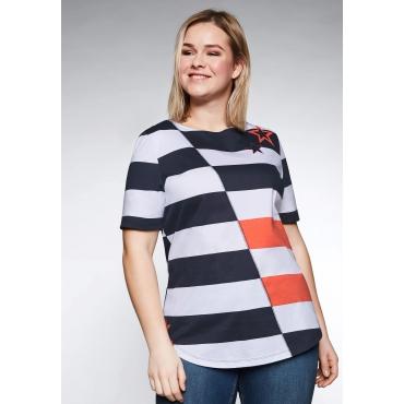 Shirt mit Sternendruck und Blockstreifen, marine-weiß, Gr.44/46-56/58