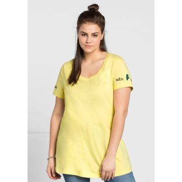 Shirt mit Stickereien, hellgelb, Gr.44/46-56/58