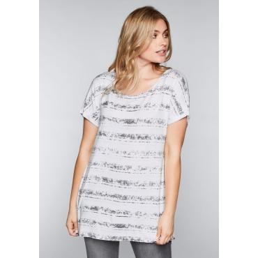Shirt mit Streifen-Alloverdruck, weiß, Gr.44/46-56/58