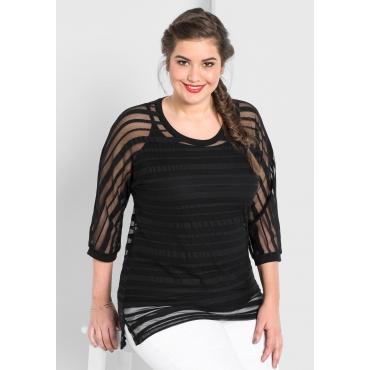 Shirt mit transparenten Streifen, schwarz, Gr.44/46-56/58