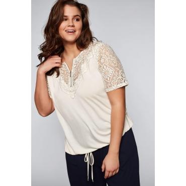 Shirt mit transparenter Spitze, offwhite, Gr.44/46-56/58