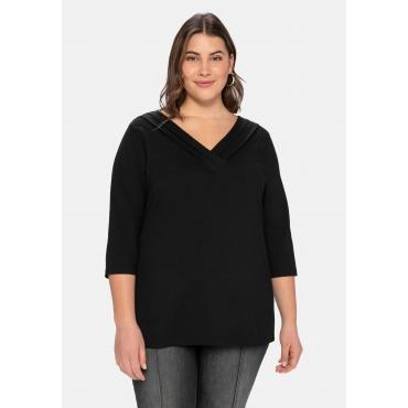 Shirt mit V-Ausschnitt und dekorativer Blende, schwarz, Gr.40/42-56/58