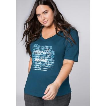 Shirt mit verlängertem Halbarm, dunkelpetrol, Gr.44/46-56/58