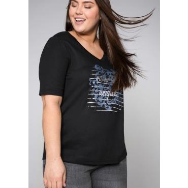 Shirt mit verlängertem Halbarm, schwarz, Gr.44/46-56/58