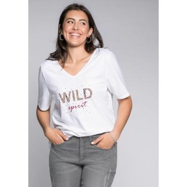 Shirt mit Wording-Print und Strasssteinen, offwhite, Gr.44/46-56/58