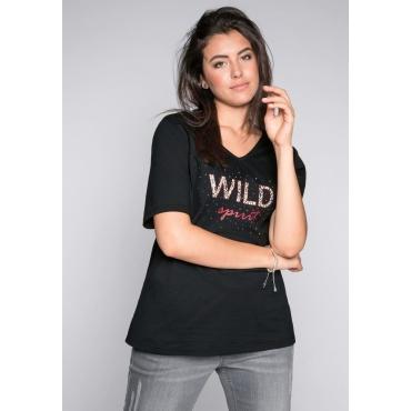 Shirt mit Wording-Print und Strasssteinen, schwarz, Gr.44/46-56/58